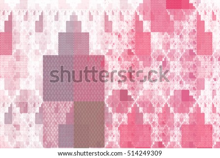 Intricate pink, purple and peach abstract rectangle pattern on white background
