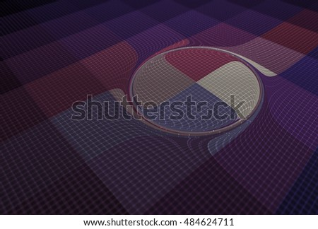 Intricate pink, purple and white abstract swirling disc design on black background