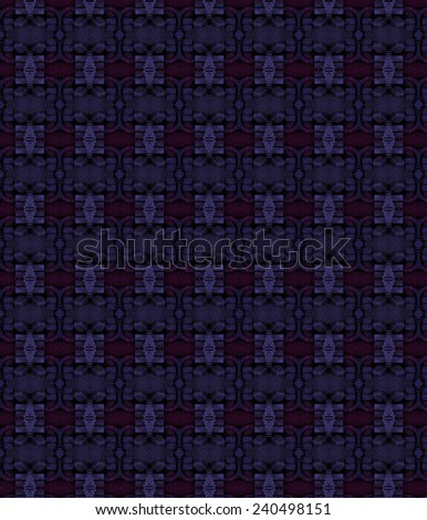 Intricate pink / purple woven abstract geometric design on black background - stock photo