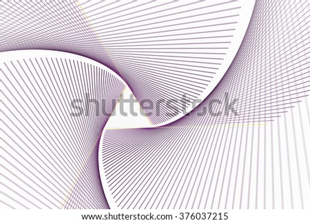 Intricate purple and gold abstract string triangle design on white background  - stock photo