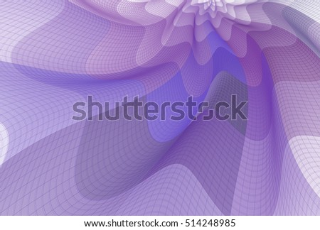 Intricate purple and white abstract wavy flowing fabric on white background