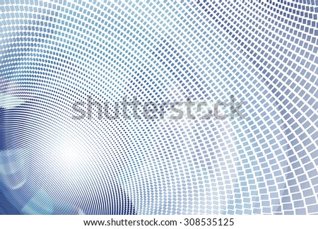 Intricate purple / blue / green abstract curved mosaic design on white background  - stock photo