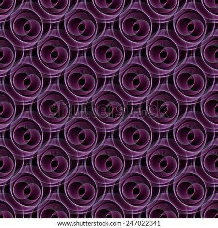 Intricate purple double spiral string pattern on black background (tile able) - stock photo