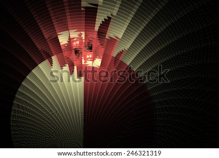 Intricate red / white abstract curved fan design on black background - stock photo