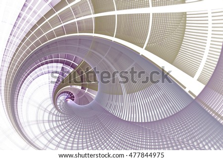 Intricate silver, gold and purple string wave design on white background