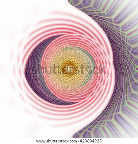 Intricate spin whirlpool pink green yellow blue purple plumb white spin twirl twist design symmetrical mesmerizing symbol background backdrop small lines unique pattern - stock photo