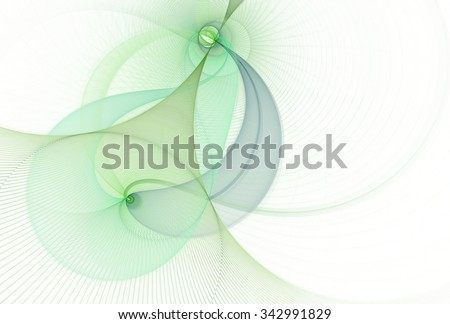 Intricate teal, green and lime abstract woven string design on white background  - stock photo