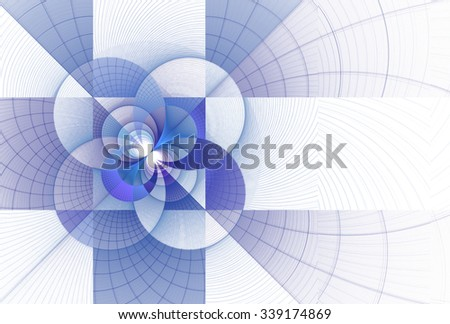Intricate teal / purple modern flower / square woven design on white background  - stock photo