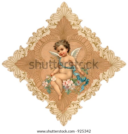 Intricate, vintage Valentine greeting illustration with cupid - stock photo