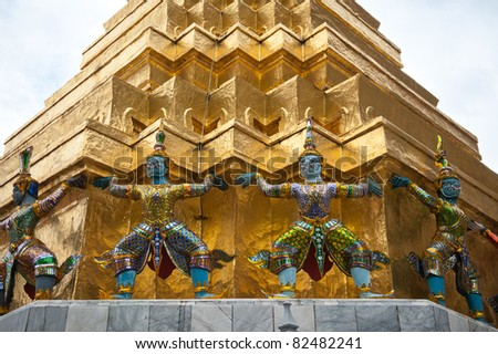 Intricate warrior statues in Thai temple - stock photo