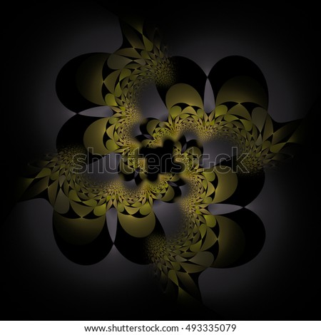Intricate yellow and silver abstract woven flower / hole design on black background