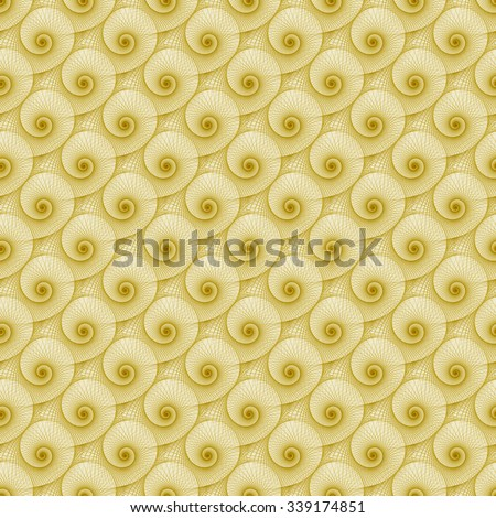 Intricate yellow / brown spiral wave design on white background (tile able)