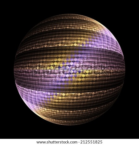 Intricate yellow / gold and purple checkered sphere on black background
