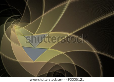 Intricate yellow, orange and grey abstract 3D geometric design on black background