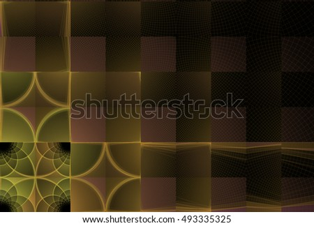 Intricate yellow, orange and peach abstract woven diamond / flower design on black background