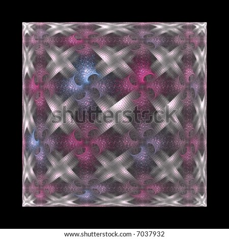 Intricately woven silver, pink and blue cube / square on white background