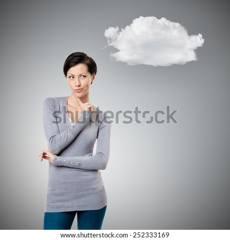 Intriguing look with cloud, gey background