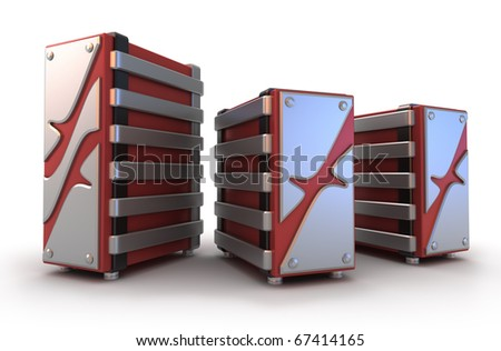 Intrnet Servers on white, 3D image - stock photo