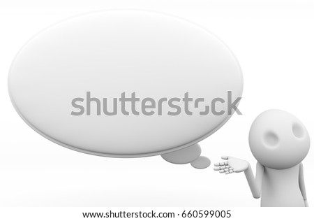 Introduce thinking bubble white space Blank 3D Wooden Character.