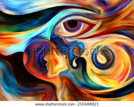 Intuition series. Design made of human profile and eye elements on the subject of mysticism, precognition and inner vision - stock photo