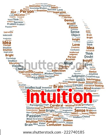Intuition word cloud shape concept - stock photo
