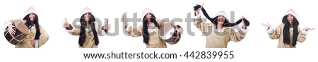 Inuit woman isolated on the white - stock photo