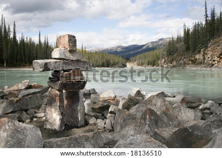 Inukshuk built in Jasper Alberta - stock photo