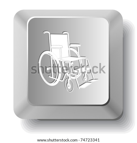 Invalid chair. Computer key. Raster illustration. - stock photo