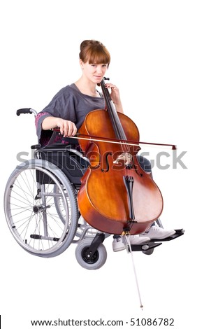 invalid girl with cello on wheelchair isolated on white - stock photo