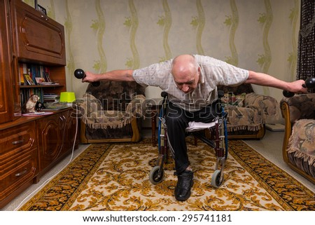 Invalid old man leaned and doing exercises - stock photo