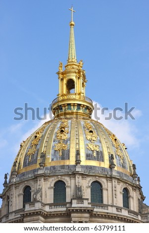 Invalid palace dome closeup in Paris