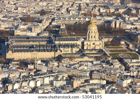 Invalid palace with notre dame and pantheon in Paris. View from Eiffel tower