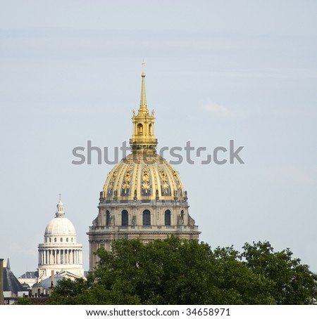 Invalids and Pantheon domes in Paris