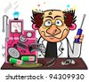 Inventor with cool hairstyle after explosion of his device - stock vector