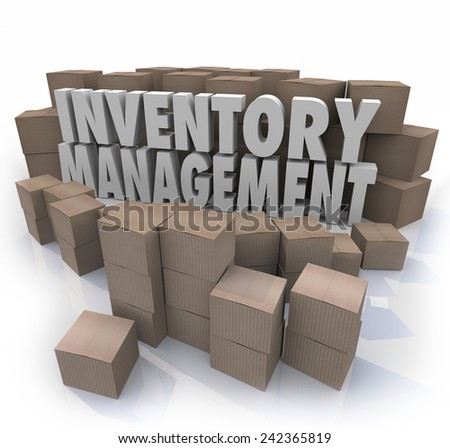 Inventory management words in 3d letters surrounded by cardboard boxes full of products in a warehouse or storage area to illustrate logistics or supply chain control - stock photo
