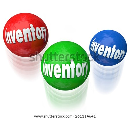 Inventory word on balls being juggled in a difficult or challenging job, task or work to manage products in a warehouse or company shipping and receiving goods for customers - stock photo