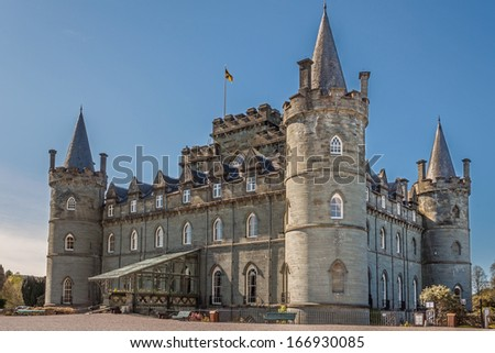 Inveraray Castle is an estate house near Inveraray in the county of Argyll, in western Scotland, on the shore of Loch Fyne,It has been the seat of the Duke of Argyll, chief of Clan Campbell - stock photo