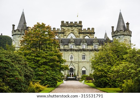 Inveraray Castle 28th August 2015. Inveraray, Argyle, Scotland. Home of the Duke and Duchess of Argyle.