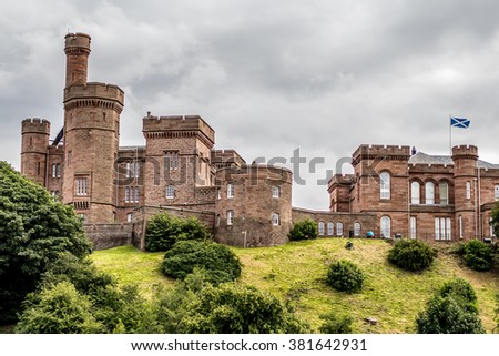 Inverness castle  in Scotland, UK. Image with selective focus and toning