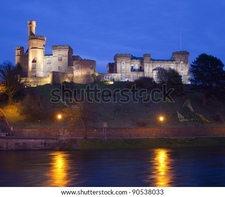 Inverness Castle sits on a cliff overlooking the River Ness, in Inverness, Scotland. - stock photo