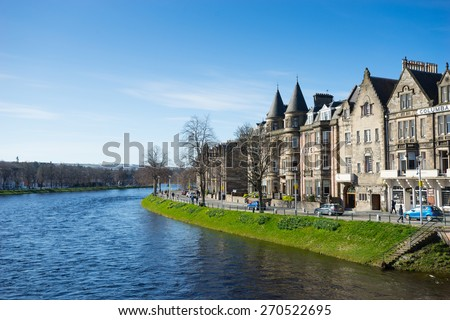 INVERNESS, SCOTLAND APRIL 10, 2015: Inverness city, Scotland, one of the most beautiful city in UK,  on sunny day
