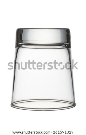 inverted glass cup for water empty, on white background