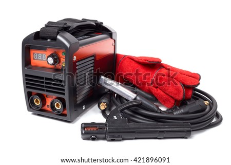 Inverter welding machine, welding equipment isolated on white background leather gloves, welding electrodes, high-voltage wires with clips, set of accessories for arc welding. - stock photo