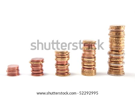 Invest concept with euro coin stacks