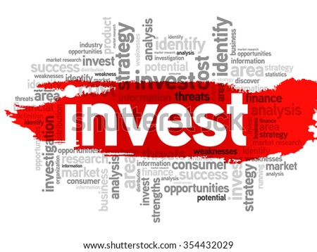 Invest word cloud, business concept background - stock photo