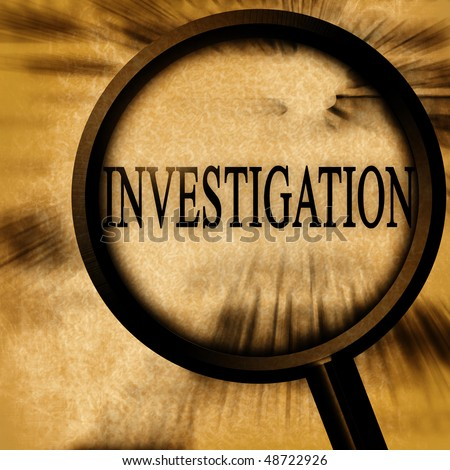 investigation on a grunge background with a magnifier - stock photo