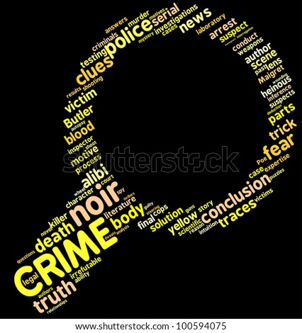 Investigation symbol tag cloud / Investigation lens symbol tag cloud with yellow words over a black background - stock photo
