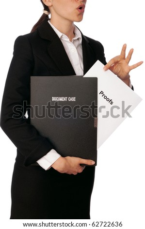 Investigator examines in details proofs reported by advocate - stock photo