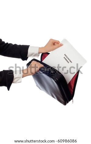 Investigator examines in details the materials of exculpatory evidence reported by advocate - stock photo