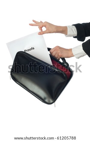 Investigator examines in details the materials of proofs reported by advocate - stock photo